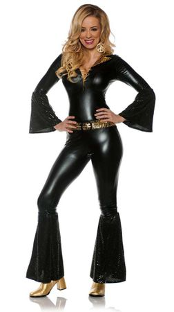 Women's Black/Gold Disco Jumpsuit Costume