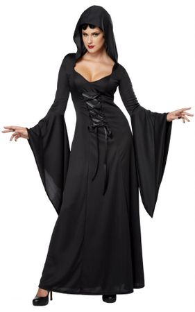 Women's Black Hooded Robe Costume