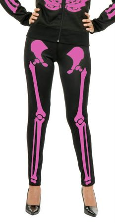Women's Black/Hot Pink Skeleton Leggings