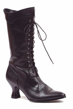 Women's Black Lace-Up Victorian Boots