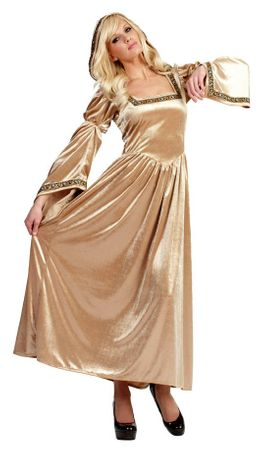 Women's Gold Renaissance Bella Hooded Dress Costume