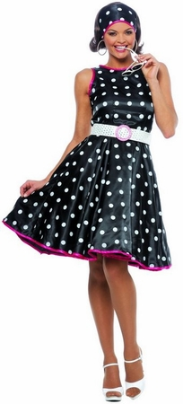 Women's Hot 50's Black Polka Dot Costume, Size Small