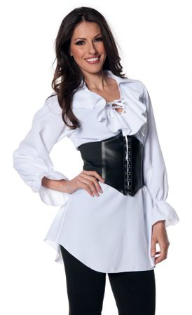 Women's Long Sleeve White Renaissance Pirate Blouse
