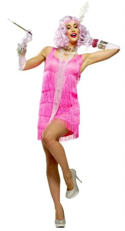 Women's Neon Pink Fringe Party Dress