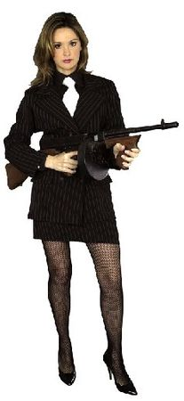 Plus Size Women's Pinstriped Gangster Suit Costume