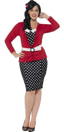 Women's Plus Size 50's Polka Dot Pin-Up Costume
