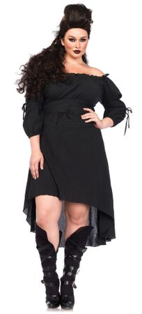 Women's Plus Size Black Peasant Dress