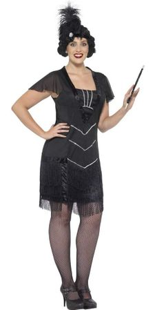 Women's Plus Size Fancy Black Flapper Costume
