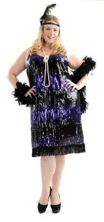 Women's Plus Size Purple Sequin Flapper Costume