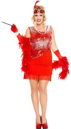 Women's Plus Size Red Fearless Flapper Costume