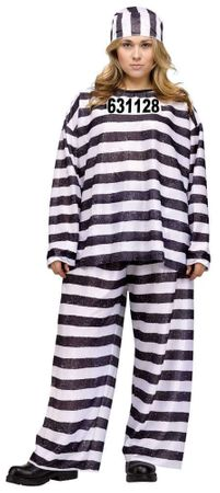Women's Plus Size Striped Jailbird Costume