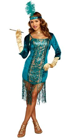 Women's Teal High Society Flapper with Shrug Costume