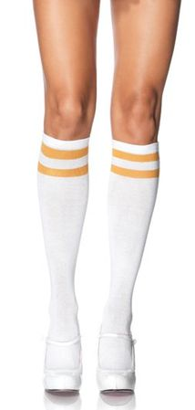 Women's Retro White/Gold Athletic Knee Socks