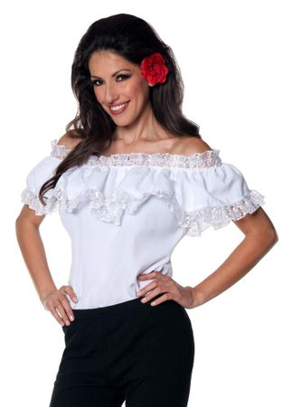 Plus Size Women's White Senorita Blouse
