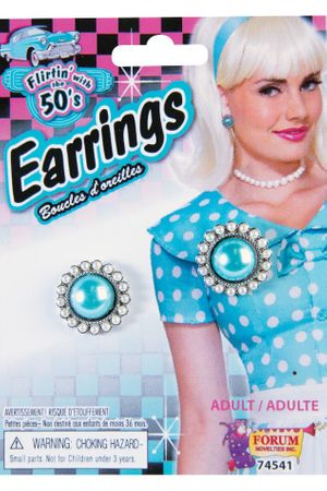 Women's 50's Style Round Teal Earrings