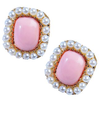Women's 50's Style Square Pink Earrings