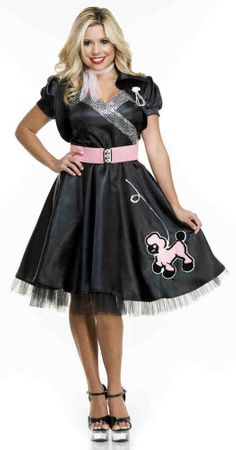 Women's Black Satin Poodle Dress Costume