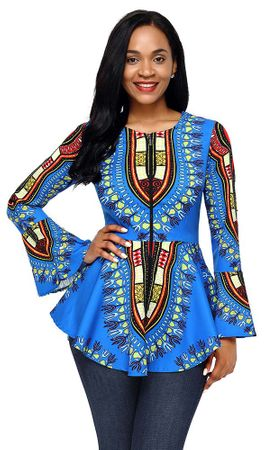 Women's Blue Long Sleeve Dashiki Shirt