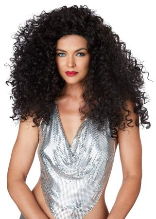 Women's Curly Black Disco Diva Do Wig