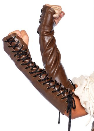 Women's Faux Leather Lace Up Arm Guard Gloves