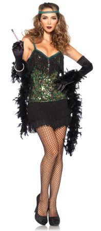 Women's Peacock Sequin Flapper Costume, Size Large