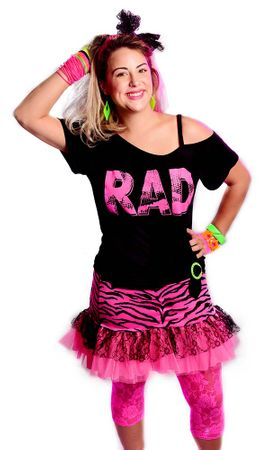 Plus Size Women's Hot Pink Rad 80's Shoulder Strap Tee