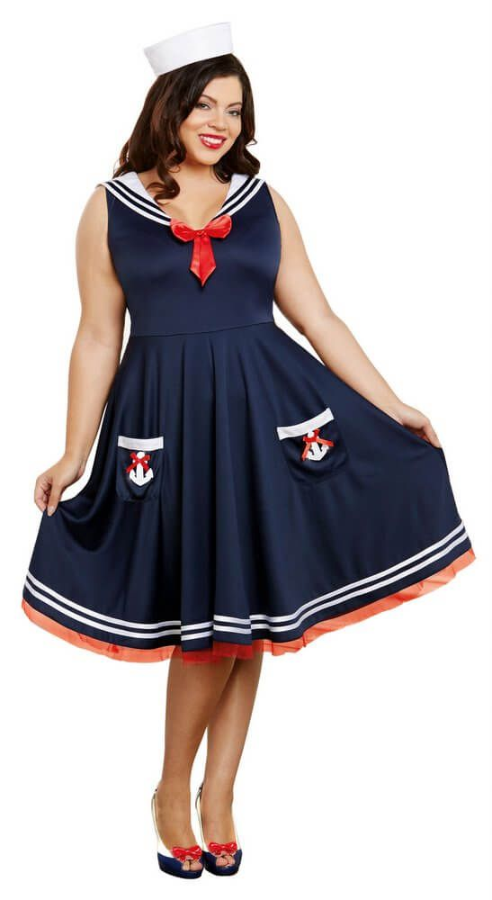 42d256135cefc Women s Plus Size All Aboard Sailor Costume - Candy Apple ...