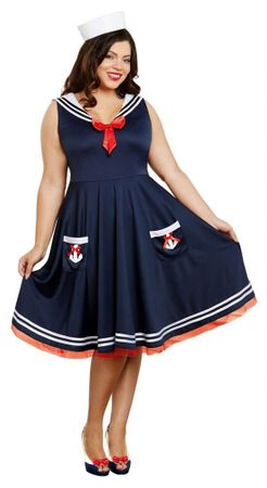 Women's Plus Size All Aboard Sailor Costume