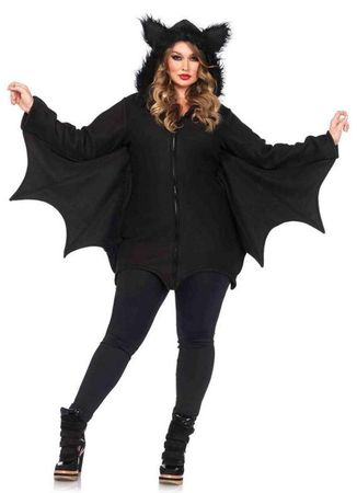 Women's Plus Size Black Cozy Bat Costume