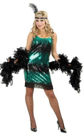 Women's Plus Size Jade Sequin Flapper Costume