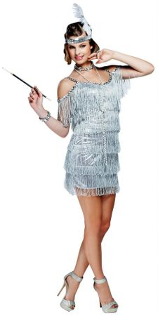 Women's Silver Fringed Martini Flapper Costume
