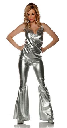 Women's Silver Ladies Night Disco Costume