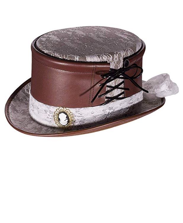 Women s Victorian Brown White Lace Hat - Candy Apple Costumes f6fe1b2cd43