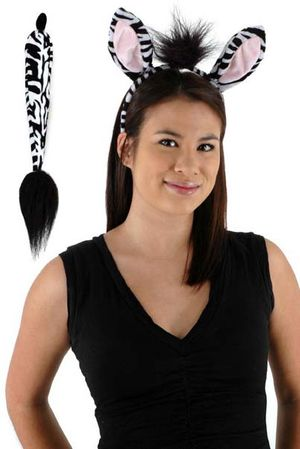 Zebra Ears and Tail Costume Set