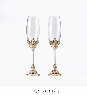10 Inch Gold Beaded Crown Wedding Toasting Champagne Flute Glass Set of 2