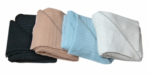 Classic Cable Knit 100% Cashmere Throw
