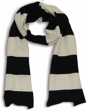 Black White 100% Cashmere Soft and Warm Rugby Striped Scarf