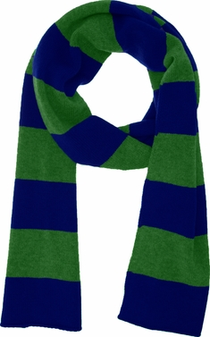 Green Blue 100% Cashmere Soft and Warm Rugby Striped Scarf