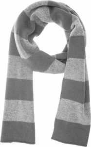 Grey & Light Grey 100% Cashmere Soft and Warm Rugby Striped Scarf