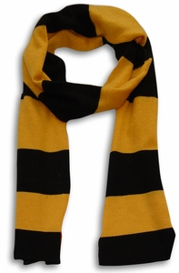 Mustard & Black 100% Cashmere Soft and Warm Rugby Striped Scarf