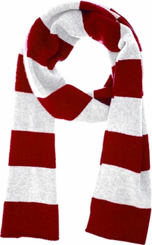 Red & White 100% Cashmere Soft and Warm Rugby Striped Scarf