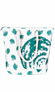 100% Cotton Canvas Handbag Picnic Boat Bag Seashell Print Green