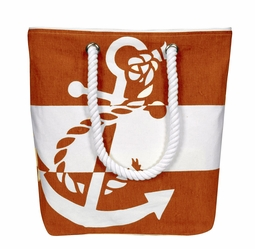 Orange White 100% Cotton Chic Summer Anchor Print Canvas Bags Beach Totes (One Size)