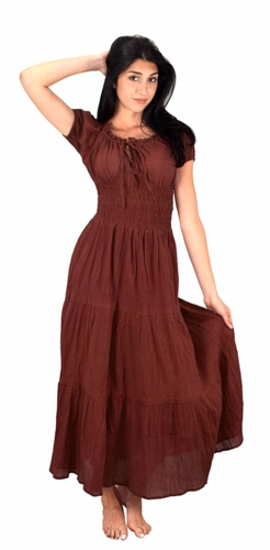 Brown 100% Cotton Gypsy Tiered Renaissance Cinched Waist Maxi Dress