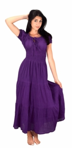 Eggplant 100% Cotton Gypsy Renaissance Waist Maxi Dress