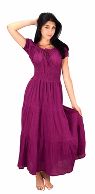 Magenta 100% Cotton Gypsy Renaissance Waist Maxi Dress