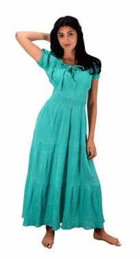 Mint 100% Cotton Gypsy Tiered Renaissance Cinched Waist Maxi Dress