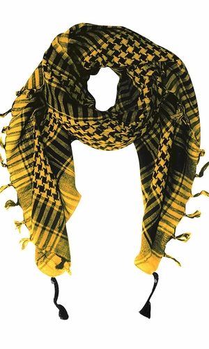 Yellow 100% Cotton Unisex Hounds Tooth Tactical Military Shemagh Keffiyeh Scarf Wrap