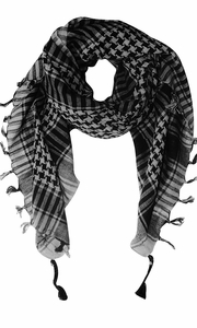 Grey 100% Cotton Unisex Tactical Houndstooth Military Shemagh Keffiyeh Scarf Wrap