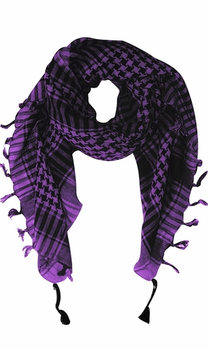 100% Cotton Unisex Tactical Military Shemagh Keffiyeh Scarf Wrap Purple